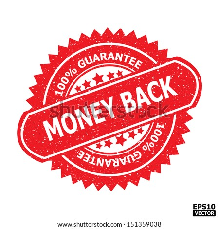 Money back rubber stamp, sticker, tag, label, sign, icon, button, symbol.-eps10 vector - stock vector
