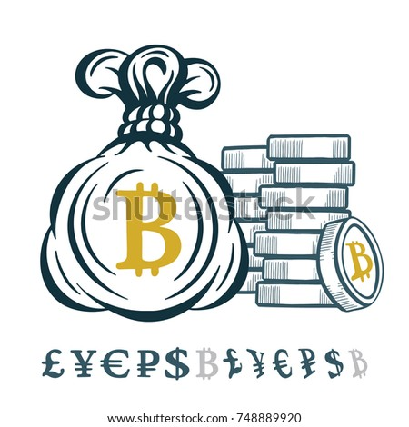 Money Bag Coins Different Currencies Symbols Stock Vector Royalty