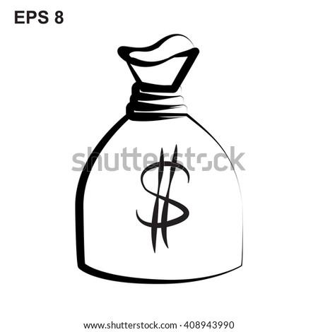 Money bag hand drawn icon. Money bag sketch, Money bag icon flat, Money bag icon picture, Money bag icon vector, Money bag icon graphic, Money bag icon object, Money bag icon JPEG, Money bag picture - stock vector