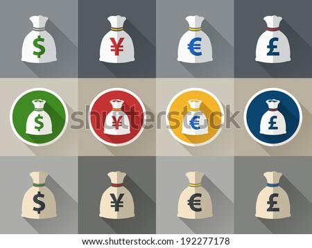 Money bag icon set with currency symbol flat design vector - stock vector