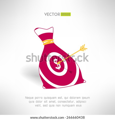 Money bag icon with aim and arrow. Money earning concept. Vector illustration - stock vector