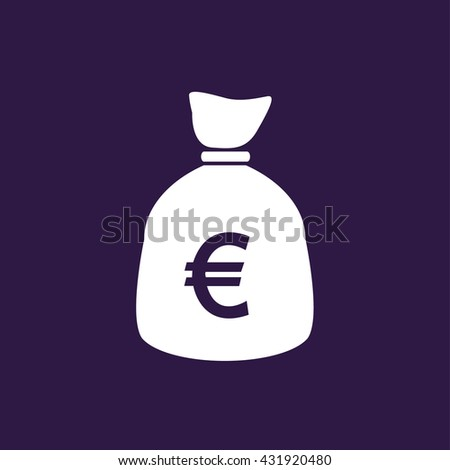 Money bag icon with euro symbol . Vector illustration