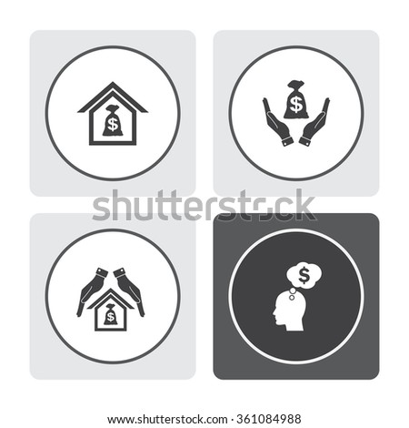 Money bag in hand vector icon. Hand holds cash bag in dollars symbol. Money insurance sign. Protection and mortgage vector icon. Human profile with speech bubble vector icon. - stock vector