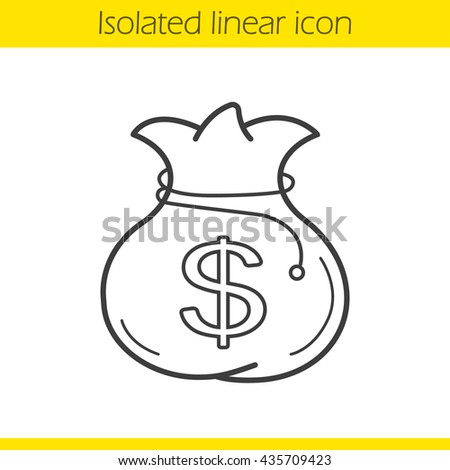 Money bag linear icon. Thin line illustration. Moneybag with dollar sign. Contour symbol. Vector isolated outline drawing