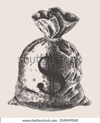 money bag, money vintage engraved illustration, hand drawn, sketch - stock vector