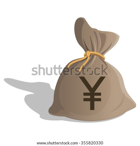 Money bag or sack cartoon style icon with Yen sign isolated on white background. Japan Currency symbol. Vector illustration - stock vector