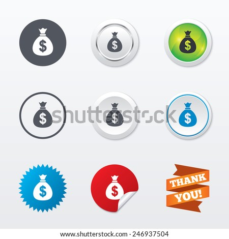 Money bag sign icon. Dollar USD currency symbol. Circle concept buttons. Metal edging. Star and label sticker. Vector - stock vector
