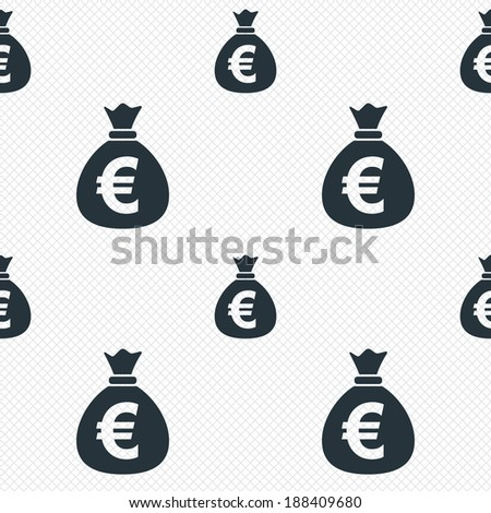 Money bag sign icon. Euro EUR currency symbol. Seamless grid lines texture. Cells repeating pattern. White texture background. Vector - stock vector