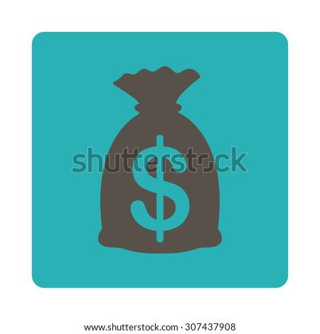 Money Bag vector icon. This flat rounded square button uses grey and cyan colors and isolated on a white background. - stock vector