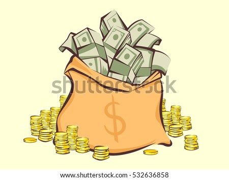 Money bag with bunches of dollars and coins stacks beside, cartoon style,  isolated vector illustration