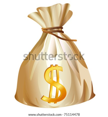 Money bag with dollar sign cartoon vector illustration
