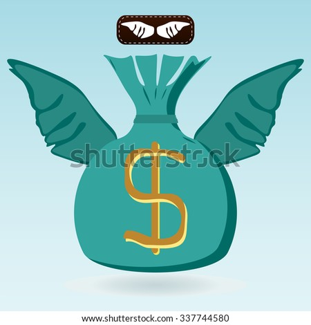 Money bag with dollar symbol with wings. Investment, the flight of Finance, money transfers. - stock vector