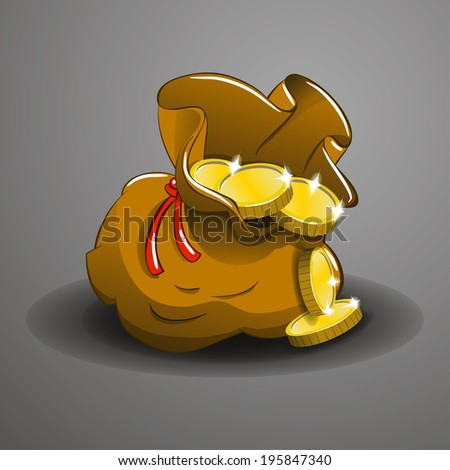 Money bag with golden coins. Vector illustration. - stock vector