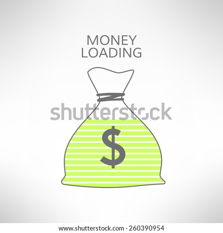 Money bag with loading bar inside icon. Financial operation progress concept. Vector illustration - stock vector
