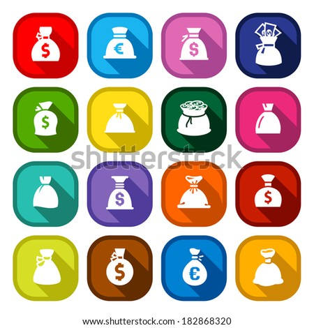 Money bags, set icons on round colored buttons, vector illustration with shadow. - stock vector
