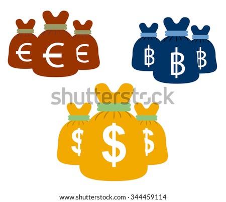 Money bags set vector design - stock vector