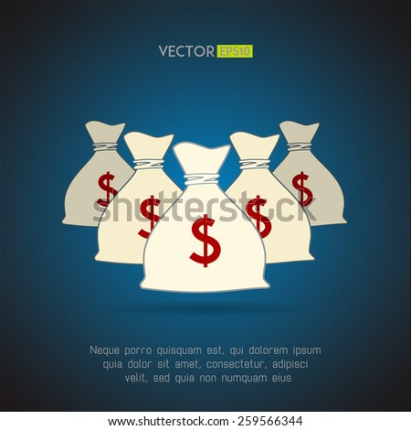 Money bags with dollar sign background. Vector illustration - stock vector