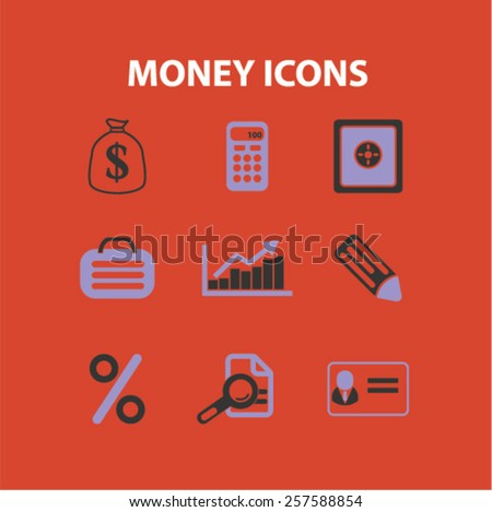 money, bank, finance isolated icons, signs, silhouettes, illustrations,  set, vector - stock vector