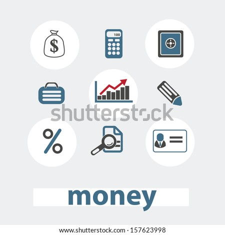 money, bank icons set, vector - stock vector