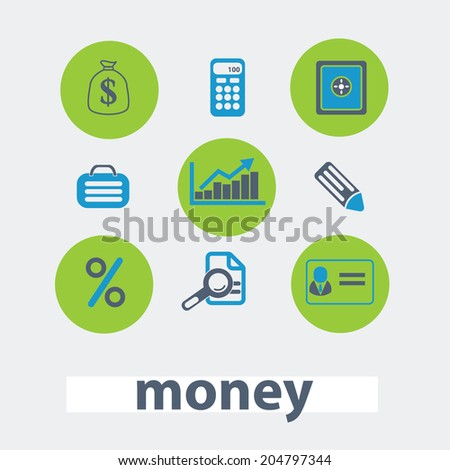 money, bank, investment vector set of colorful flat icons, signs, design elements for mobile and web applications. - stock vector