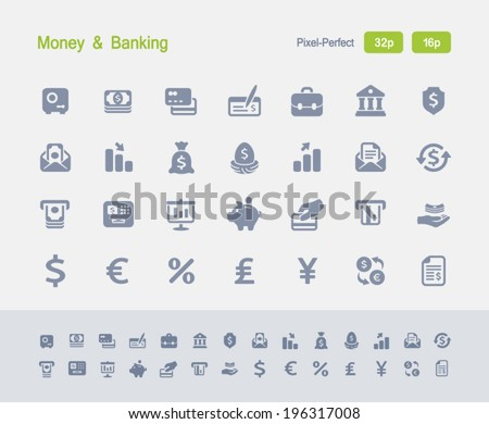 Money & Banking Icons. Granite Icon Series. Simple glyph stile icons optimized for two sizes. - stock vector