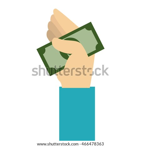 money bill hand, isolated flat icon design