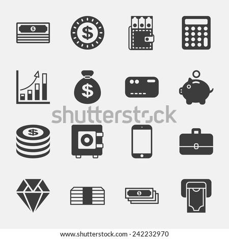 money black icons on white background - stock vector