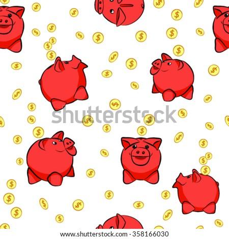 Money box pig saving money. Vector illustration. - stock vector