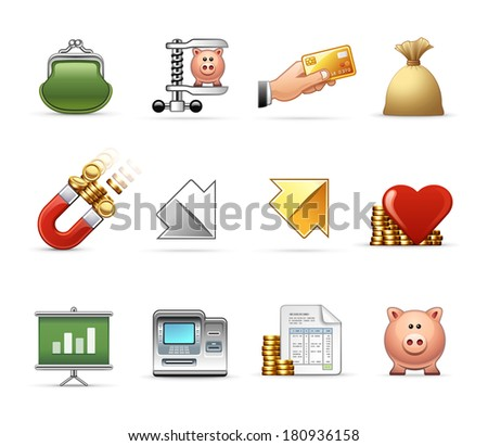 Money, Budget and Savings  |  Professional icon set - stock vector