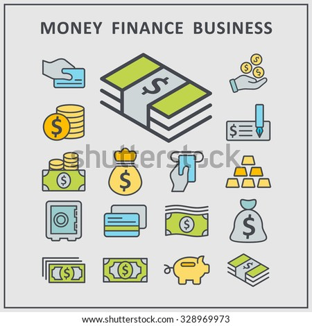 Money business finance vector icons