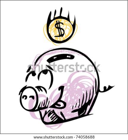Money cartoon pig sketch color icon - stock vector