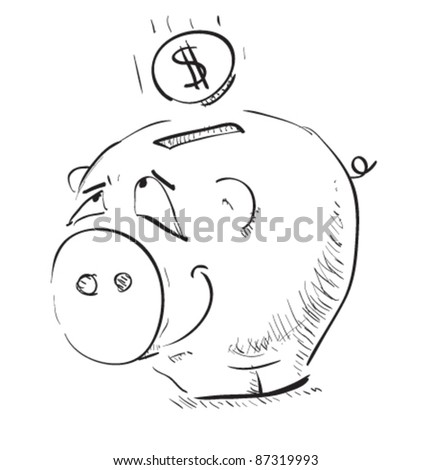 Money cartoon pig sketch icon with coin illustration - stock vector