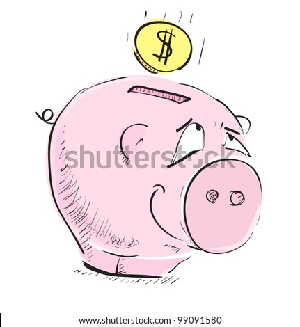 Money cartoon pig sketch icon with coin illustration