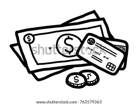 money cartoon vector illustration black white stock vector 763579363 rh shutterstock com money bag clipart black and white monkey clip art black and white