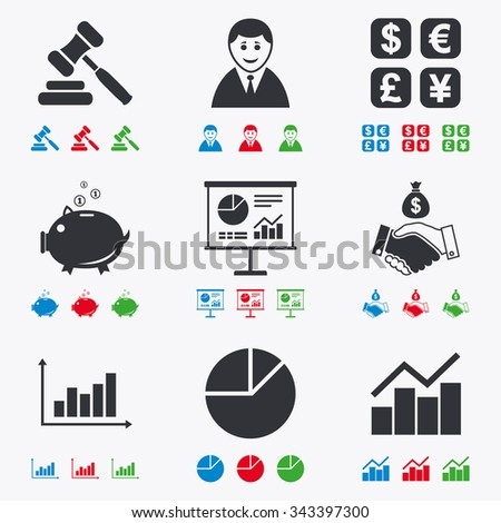 Money, cash and finance icons. Handshake, piggy bank and currency exchange signs. Chart, auction and businessman symbols. Flat black, red, blue and green icons. - stock vector