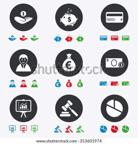 Money, cash and finance icons. Piggy bank, credit card and auction signs. Presentation, pie chart and businessman symbols. Flat circle buttons with icons. - stock vector