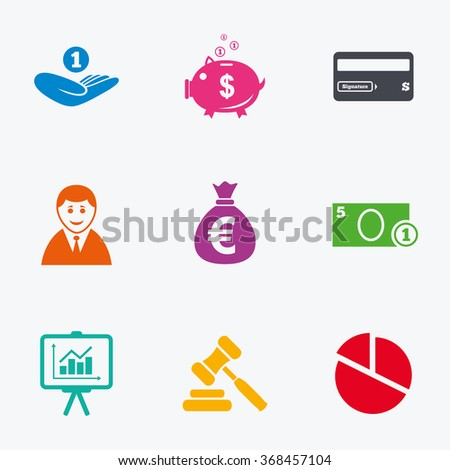 Money, cash and finance icons. Piggy bank, credit card and auction signs. Presentation, pie chart and businessman symbols. Flat colored graphic icons. - stock vector