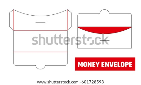 Money Cash Envelope Die Cut Stamp Stock Vector   Shutterstock