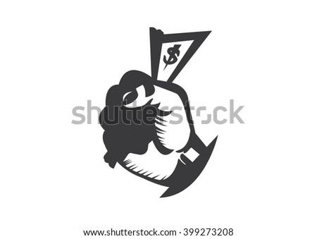 Money cash hand arm vector  - stock vector