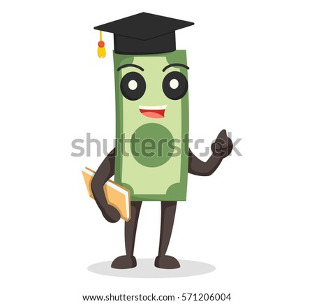 money character with graduation hat