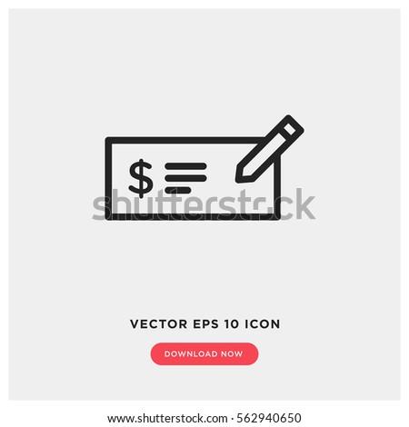 Money Check Vector Icon Bank Money Stock Vector 562940650 Shutterstock