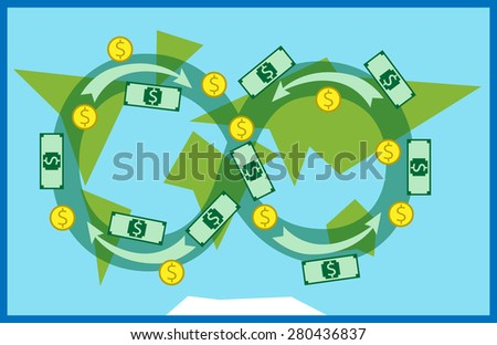 Money circulating all over the world. Trade, macroeconomics, globalization, banking, industry, global financial system concept. EPS 10 vector illustration, transparency used