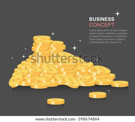 Money coins. Business elements. Vector illustration. Concept for financial growth. - stock vector
