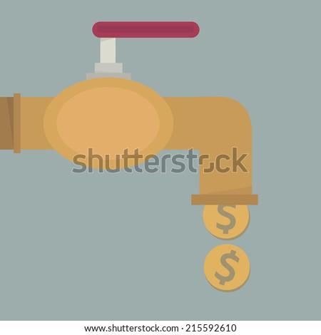 Money coins fall out of golden faucet, flat design - stock vector