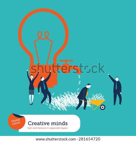 Money coming out of a bulb faucet and businessmen celebrating. Vector illustration Eps10 file. Global colors. Text and Texture in separate layers. - stock vector