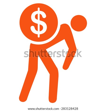 Money courier icon from Business Bicolor Set. Vector style: flat symbol, orange color, rounded angles, white background. - stock vector