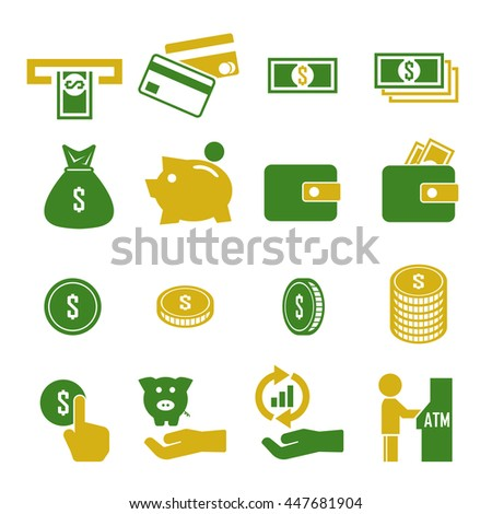 money, currency icon set