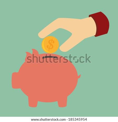 Money design over green background, vector illustration - stock vector