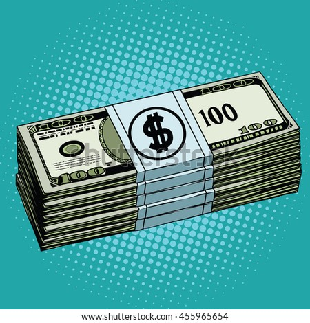 Money dollars cash pop art retro vector. Banknotes Finance - stock vector