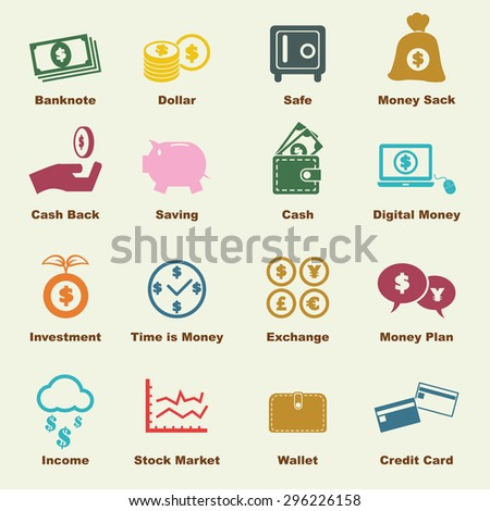 money elements, vector infographic icons - stock vector